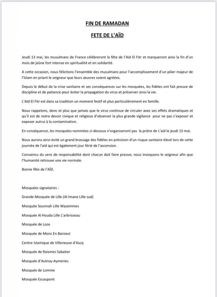 Communiqué Fête de l'Aïd 1442/2021